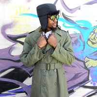 Vintage Military Trench Coat, AUTHENTIC 70s United States Military Issue Army Green Double Breasted Coat w Removable Liner, Men's Small Long