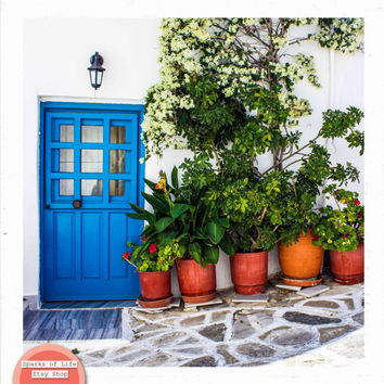 Greece printable, square digital download, blue door, travel photography, Greek home, cobblestone, flower pot, wall art, home decor, plants