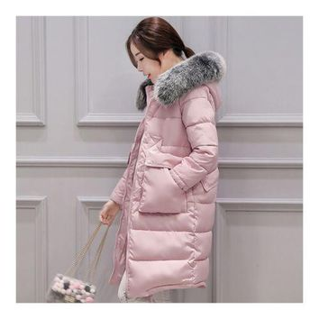 Winter Woman Down Coat Slim Middle Long Thick Fox Fur    pink