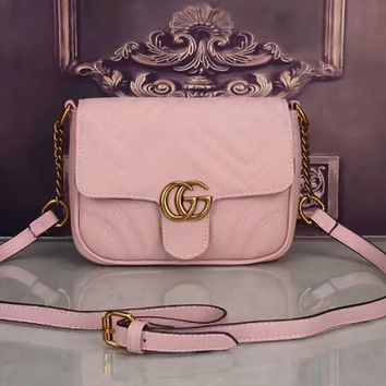 One-nice™ GUCCI Women Shopping Leather Metal Chain Crossbody Satchel Shoulder Bag Pink I-LLBPFSH