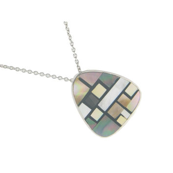 Vintage Triad Mother of Pearl Pendant Necklace in 925 Sterling Silver by Fronay Co, 16""