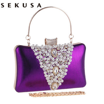 New Arrival V Design Beaded Embroidery Women Evening Bags Rhinestones Lady Luxurious Handbags For Wedding Purse Clutches