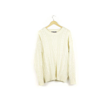 100% wool cable knit fisherman's sweater / crew neck pullover / white ivory cream natural sweaters / classic heritage / mens medium -  large