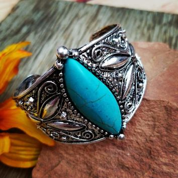 Silver & Turquoise Floral Cuff Bracelet
