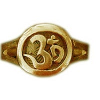 SS-0086 AUM Om Ganesh Gold plated Ring Hindu Jewelry Religious Pick Your Ring Size We Have Sizes 3 to 14