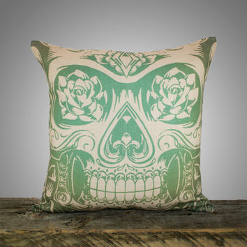 Green Sugar Skull Pillow Cover, Moss Green Cushion, Decorative Throw Pillow, Day of the Dead, 16""