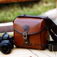 Handmade Leather DSLR/SLR Camera Bag in Red Brown