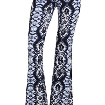 Womens Blue & White Hippie Tribal Print Multi Colored High Rise Bell Bottoms Wide Leg Pants