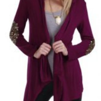 Sequined Long Sleeve Open Front Cardigan