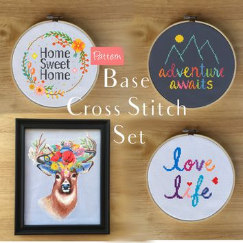 Modern Cross Stitch Patterns - Adventure Awaits, Home Sweet Home, Love Life, Floral Deer