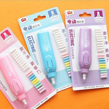 ICIK272 1 set  candy colour electric eraser rubber eraser creative stationery school supplies papelaria gift for kids