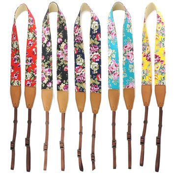 Adjustable Floral Printed DSLR Camera Shoulder & Neck Straps *Compatible with Canon, Nikon, Sony, and Panasonic DSLRs