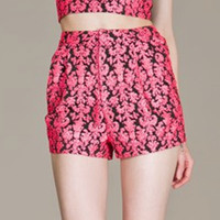 High Waisted Damask Shorts