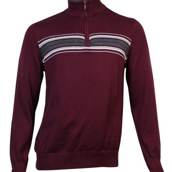 John Ashford Men's Chest Stripe Quarter-Zip Sweater (Red Plum, XXL)