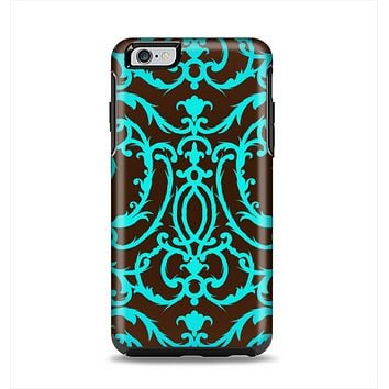 The Blue and Brown Elegant Lace Pattern Apple iPhone 6 Plus Otterbox Symmetry Case Skin Set