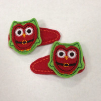 Christmas Santa Owl Felt Snap Hair Clip Barrette set off Two