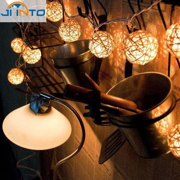 DKF4S christmas decoration Wedding Party String Lights 20pcs White Thailand Style Hand Weaved Rattan String Ball Lantern Xmas Bal