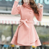 Pink Long Coat/ Winter Coat/Woman coat/ Long by Eloneeclothing