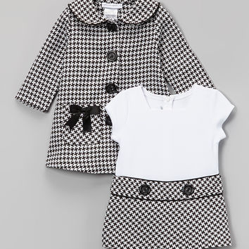 Gerson & Gerson Black Houndstooth Bow Peacoat & Dress - Infant, Toddler & Girls | zulily