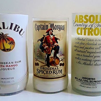 Liquor Wicks Candle Bundle Pack- Summer Favorites- Malibu Rum, Captain Morgan's, Absolut Vodka