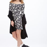 FOREVER 21 Rose Print Skater Dress Black/Cream