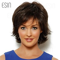 10 Inch Short Wigs for American Women Black Short Mixed Hair Wig Perruque Short Natural Wave Hair with Combs Inside