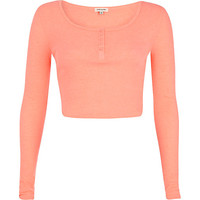 River Island Womens Pink rib long sleeve crop top