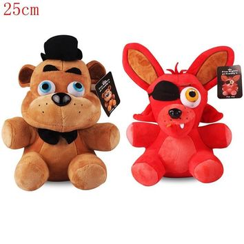 25cm  Freddy Fazbear Plush Toys  At  Golden Bear Nightmare Cupcake Foxy Balloon Boy Clown Stuffed Dolls