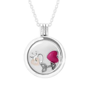 Large Floating Locket Pendant and Necklace with 3 Inner Parts 100% Authentic 925 Sterling Silver Fine Jewelry Free Shipping