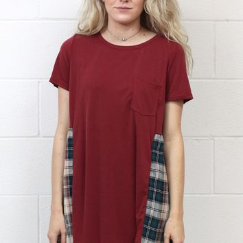 Two for One Plaid Accent Blouse {Burgundy}