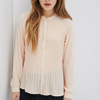 Accordion-Pleated Raglan Blouse