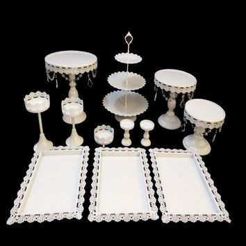 White Cake Stand Wedding Cupcake Stand Set Metal Dome Crystal Candy Bar Decoration Cake Tools Bakeware 12pcs/10pcs/9pcs/8pcs/set