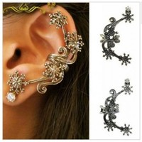 Gothic Flower Ear Cuffs