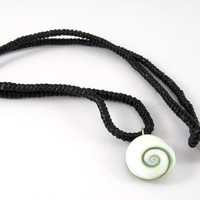 Oval Shiva Eye Shell Pendant with Macrame Necklace