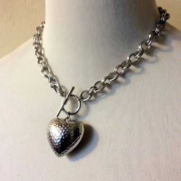 Heart Choker Necklace: puffy heart pendant in chunky chain with toggle clasp lock