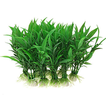 10pcs Artificial plants Fish Tank Aquarium decoration Home ornament plastic green grass aquarium supply 2016 new sale