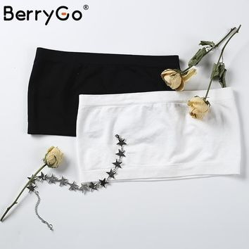 BerryGo All-match Seamless bandeau tops 2017 summer Wirefree unpadded bras for women Elastic tube top Soft Strapless crop tops