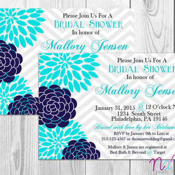 Floral Bridal Shower Invitation/Baby Shower/Flowers/Navy Blue/Chevron/Elegant/Simple/Digital/Printable