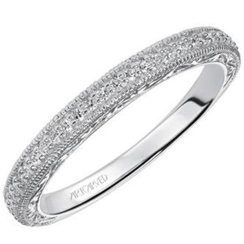 "Artcarved ""Anabelle"" Engraved Diamond Wedding Band"