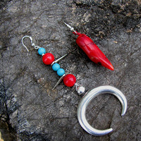 Crescent Moon Earrings, Mismatched  Coral Turquoise, Italian Horn Long Large Earrings, Asymmetric Tribal Jewelry, Alternative Boho Design
