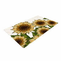 "Art Love Passion ""Sunflower Field"" Beige Yellow Woven Area Rug"