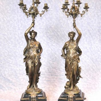 Canonbury - Pair 3 ft French Bronze Gregoire Candelabras Torcheres