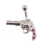14G Pink Cubic Zirconium Gun Banana Belly Button Ring
