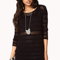 FOREVER 21 Eye-Catching Striped Top Black