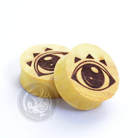 All Seeing Eye Engraved Wood Plugs