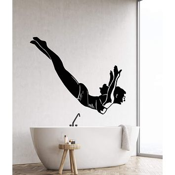 Vinyl Wall Decal Diver Retro Girl Pin Up Style Woman Swimming Pool Stickers (2681ig)