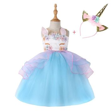 Unicorn headband Party Girls Dress Elegant Cinderella Elsa Dress Costume Summer Wedding Dresses For Kids Girls Moana Vestidos