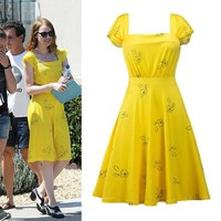 2017 La La Land Dress Mia Emma cosplay costume Stone Summer Dress Yellow Floral print Skater woman party Dress Vestidos