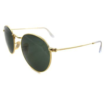 Ray-Ban Sunglasses Round Metal 3447 001 Gold Green Small 47mm