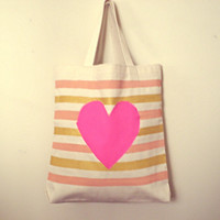 Canvas Tote Bag, Hearts and Stripes Pattern, Hand-Painted Tote Bag Pink Gold and Peach Tote Bag